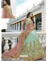 Sea Green Silk Heavy Embroidered Designer Wedding Lehenga Choli