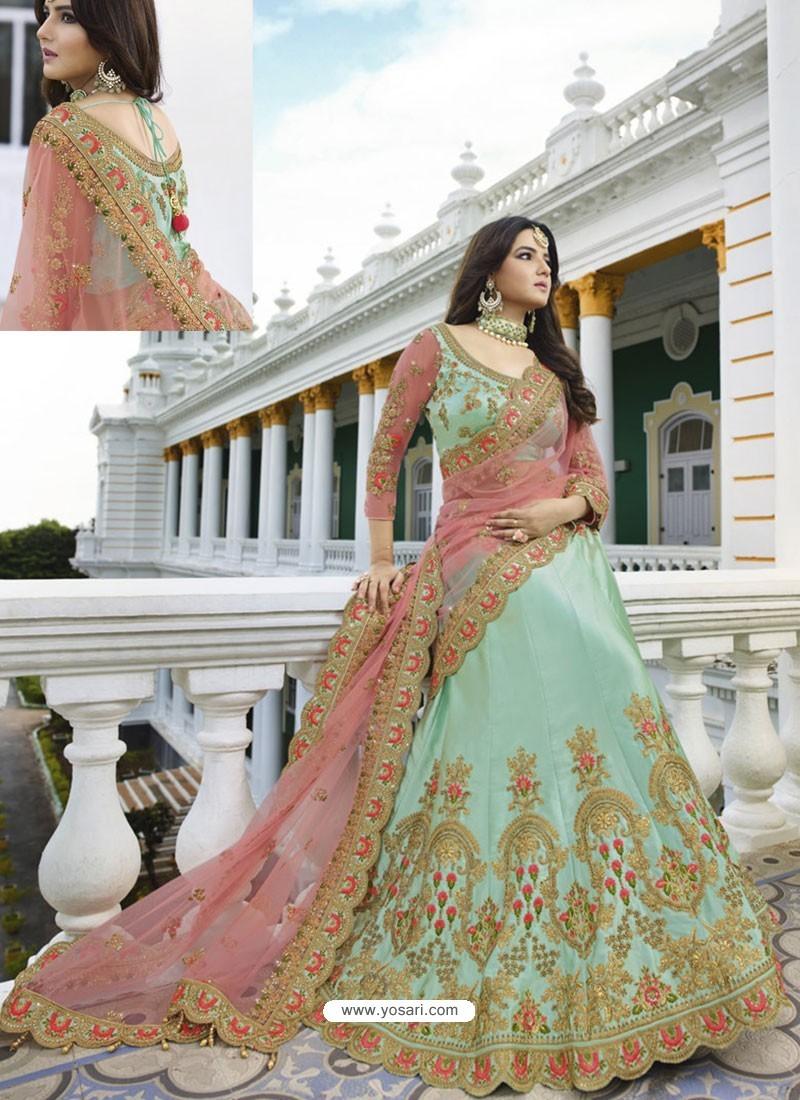 Sea Green Silk Heavy Embroidered Designer Wedding Lehenga Choli