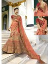 Light Orange Silk Heavy Embroidered Designer Wedding Lehenga Choli