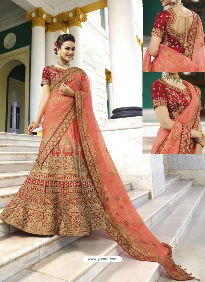 06505e3e42 Buy Light Orange Silk Heavy Embroidered Designer Wedding Lehenga ...