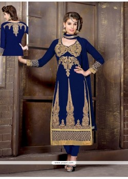Navy Blue Embroidery Work Churidar Salwar Suit