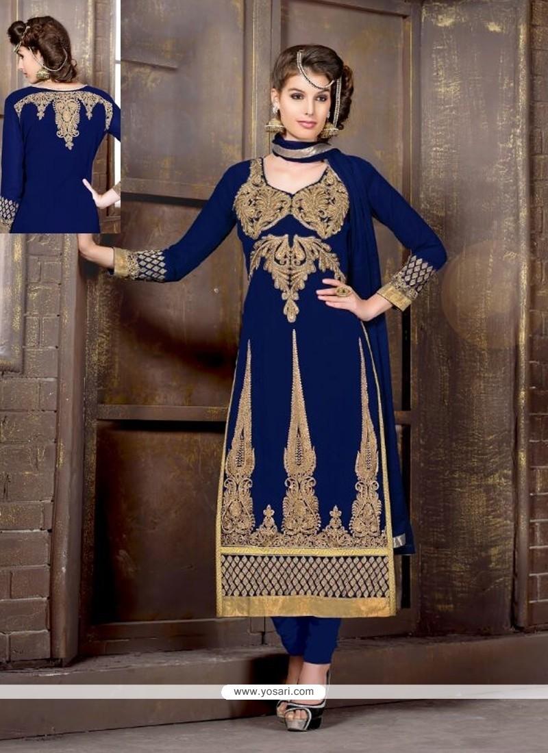 Navy Blue Embroidery Work Churidar Salwar Suit