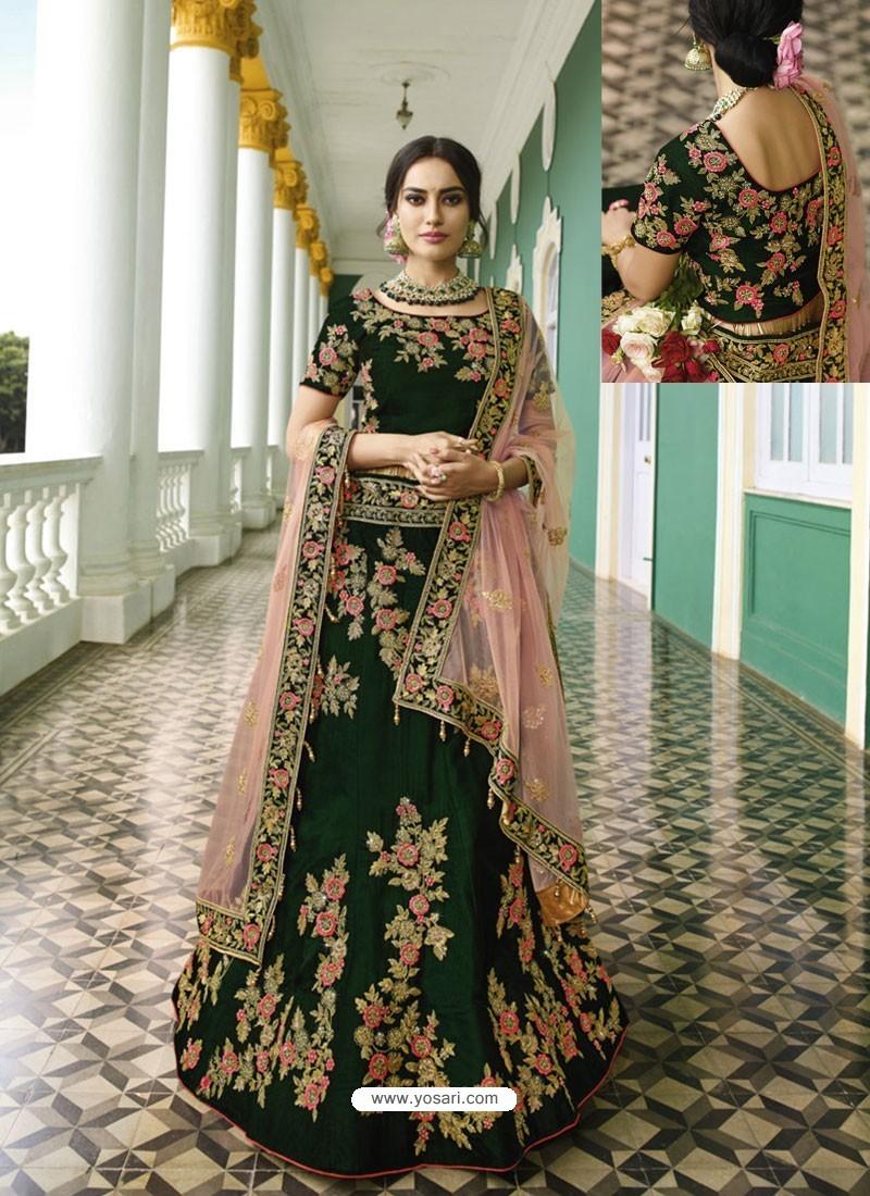 Dark Green Silk Heavy Embroidered Designer Wedding Lehenga Choli
