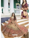 Purple And Beige Silk Heavy Embroidered Designer Wedding Lehenga Choli