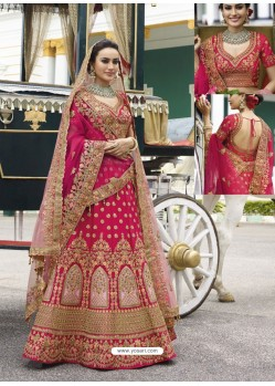 Fuchsia Silk Heavy Embroidered Designer Wedding Lehenga Choli