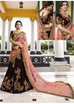 Maroon Silk Heavy Embroidered Designer Wedding Lehenga Choli