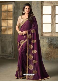 Purple Embroidered Farido Silk Designer Saree