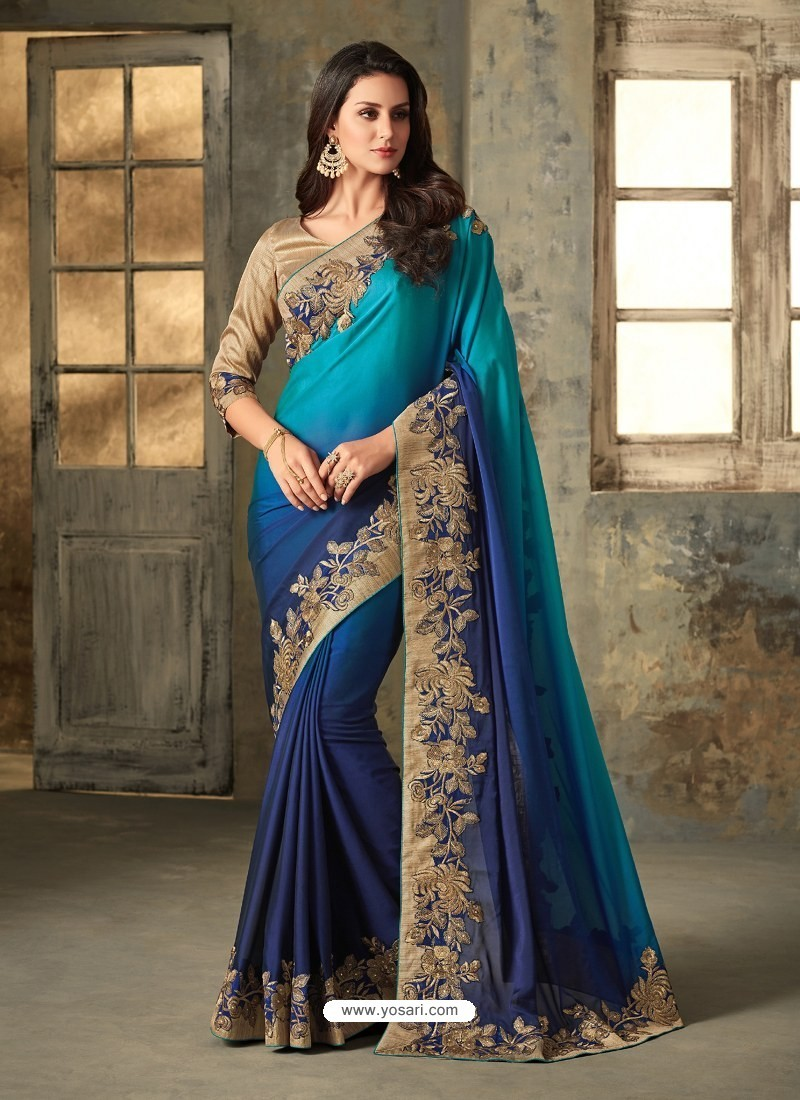 Turquoise Blue Embroidered Shaded Rangoli Designer Saree