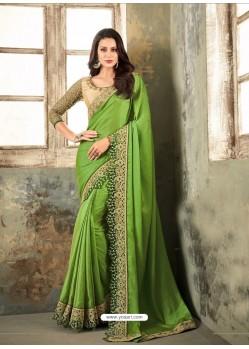 Green Embroidered Textured Soft Silk Designer Saree