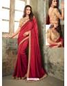 Red Embroidered Zinni Silk Designer Saree
