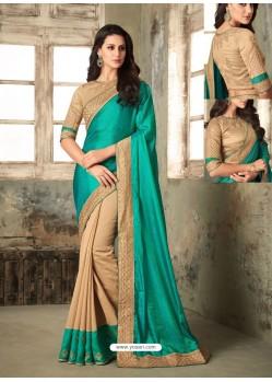 Teal Embroidered Silk Designer Saree