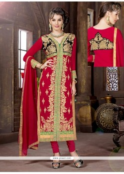 Lovely Red Georgette Churidar Salwar Suit