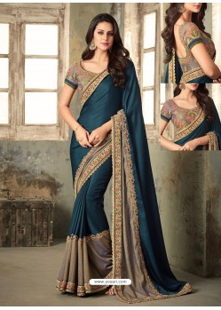 Teal Blue Embroidered Onex Silk Designer Saree