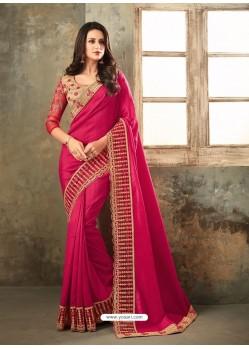 Fuchsia Embroidered Two Tone Raga Silk Designer Saree