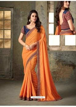 Orange Embroidered Rangoli Two Tone Designer Saree