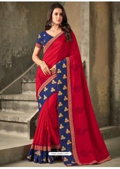 Red Embroidered Vichitra Silk Designer Saree