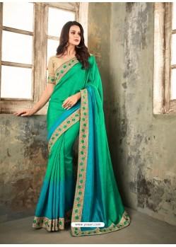Jade Green Embroidered Shaded apple Silk Designer Saree