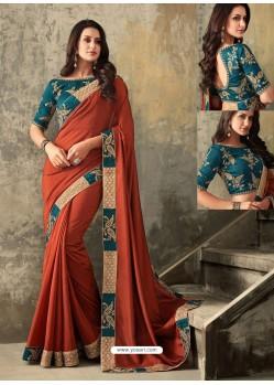 Rust Embroidered Zinni Silk Designer Saree