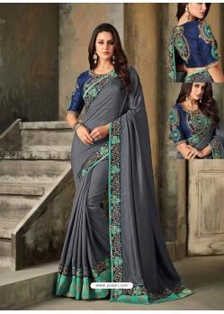 Grey Embroidered Vichitra Silk Designer Saree