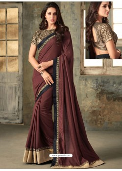 Wine Embroidered Vichitra Silk Designer Saree