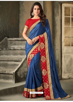Blue Embroidered Royal Silk Designer Saree