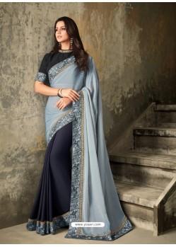 Light Grey And Black Embroidered Silk Designer Saree