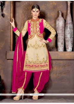 Cream And Pink Embroidery Work Punjabi Suit