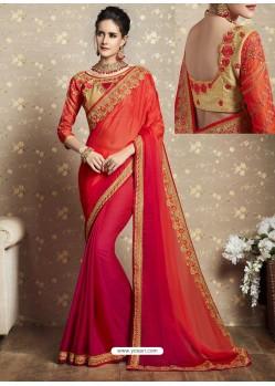 Orange Fancy Georgette Thread Embroidered Wedding Saree