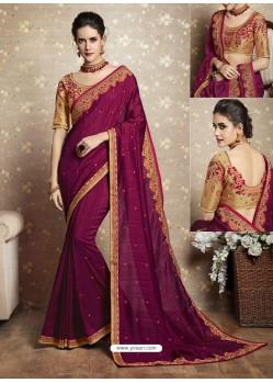 Deep Wine Vichitra Silk Thread Embroidered Wedding Saree
