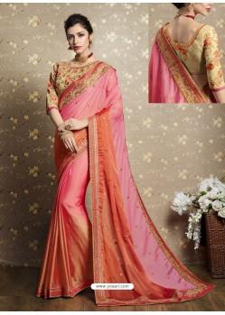 Pink Chiffon Georgette Thread Embroidered Wedding Saree