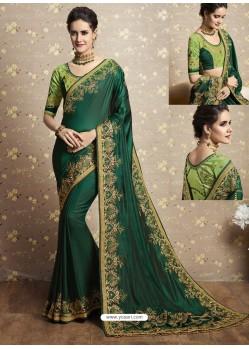 Dark Green Two Tone Barfi Silk Thread Embroidered Wedding Saree