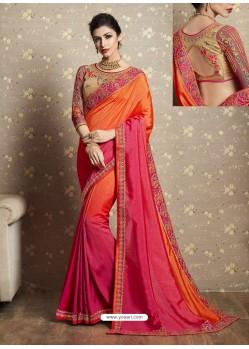 Glorious Orange Fancy Georgette Thread Embroidered Wedding Saree