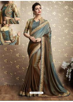 Olive Two Tone Barfi Silk Thread Embroidered Wedding Saree