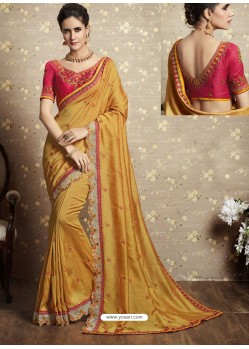 Yellow Vichitra Silk Thread Embroidered Wedding Saree