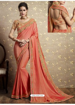 Light Orange Vichitra Silk Thread Embroidered Wedding Saree