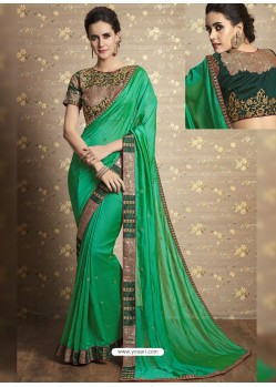 Jade Green Vichitra Silk Thread Embroidered Wedding Saree