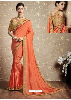 Orange Vichitra Silk Thread Embroidered Wedding Saree