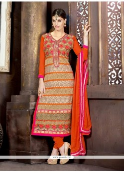 Cream And Orange Georgette Churidar Suit