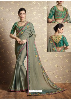 Olive Green Vichitra Silk Thread Embroidered Wedding Saree
