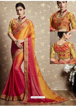 Mustard And Red Fancy Georgette Thread Embroidered Wedding Saree