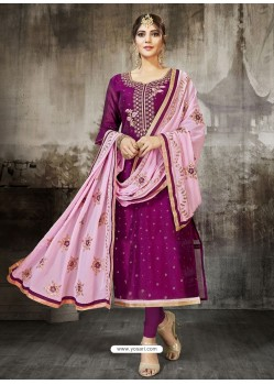 Purple Embroidered Heavy Modal Silk Designer Churidar Suit
