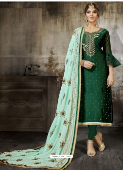 Dark Green Embroidered Heavy Modal Silk Designer Churidar Suit