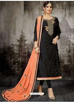 Black Embroidered Heavy Modal Silk Designer Churidar Suit