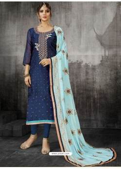 Navy Blue Embroidered Heavy Modal Silk Designer Churidar Suit