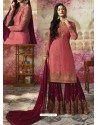 Light Red Embroidered Satin Georgette Designer Sarara Suit