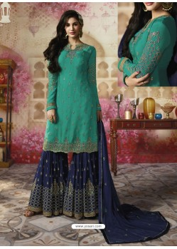 Aqua Mint Embroidered Satin Georgette Designer Sarara Suit