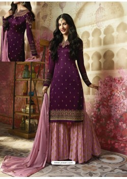 Purple Embroidered Satin Georgette Designer Sarara Suit