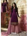 Purple Embroidered Satin Georgette Designer Sarara Suit