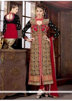 Black And Red Resham Work Churidar Suit