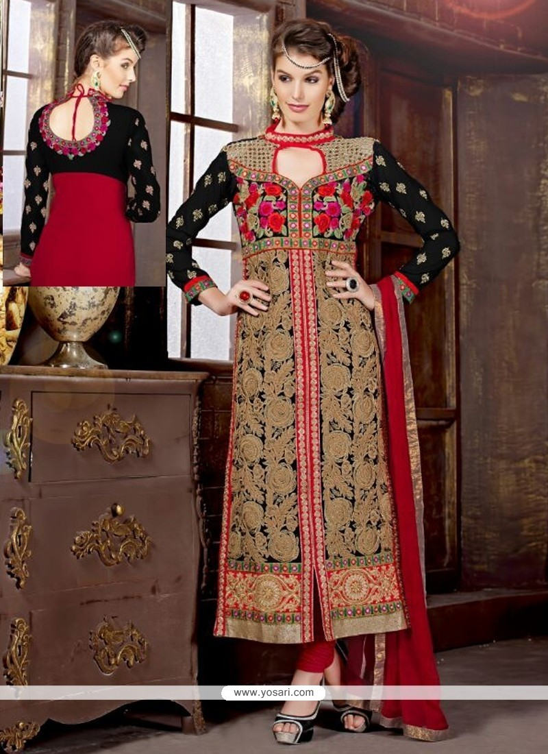 Black And Red Resham Work Churidar Suit